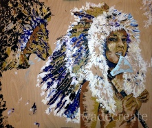 "unafraid. 44x40"" acrylic, silver leaf, feathers on wood ($1,200)"