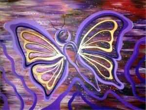 "butterfly soaring ::: 30x40"" acrylic on canvas"