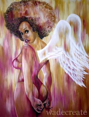 "an angel stole my heard ::: 20x25"" acrylic on canvas"