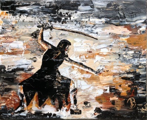 "female warrior ::: 16x20"" acrylic on canvas"