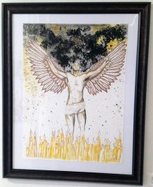 "may our fallen comrades become lights in the sky - 18x24"" watercolor on paper (framed), $250"