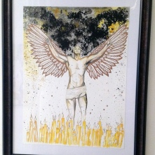 """may our fallen comrades become lights in the sky - 18x24"""" watercolor on paper (framed), $250"""