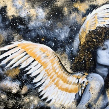 """made of stardust - 24x36"""" acrylic, resin on wood, $1,050"""