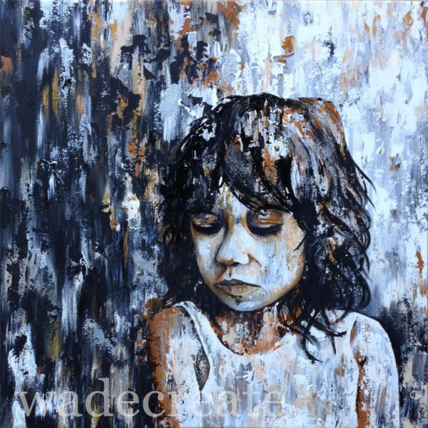 """the dreamer 36x38"""" acrylic on canvas made of stardust series"""